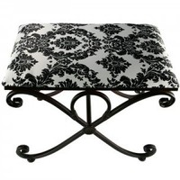 Tuscan Ottoman in Black and White Damask Print