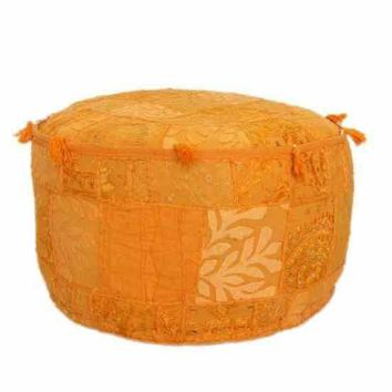 nuLOOM Hand Made Mala Orange Pouf