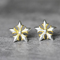 Five Star Flower Earrings, Sterling Silver Flower Stud Earrings, floral Earrings, geometric Studs Earrings, Flower Jewelry, gift for her