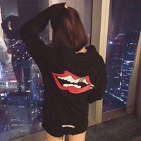 ESBONJ. Chrome Hearts' Women Casual Fashion Personality Red Lip Horseshoe Letter Pattern Print Long Sleeve Hooded Sweater Tops