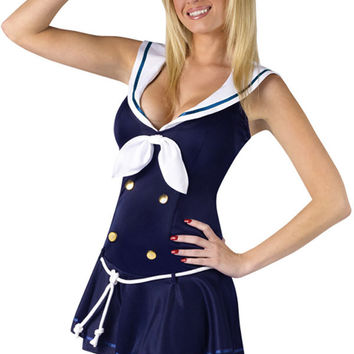 Blue Sailor Buttoned Ribbon and Waist Tie Costume