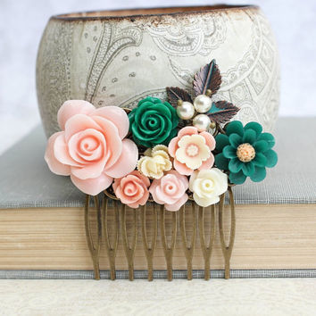 Pink Rose Comb Bridal Hair Comb Emerald Green Wedding Vintage Inspired Floral Collage Comb Hair Accessories Bridesmaids Gift Green Wedding