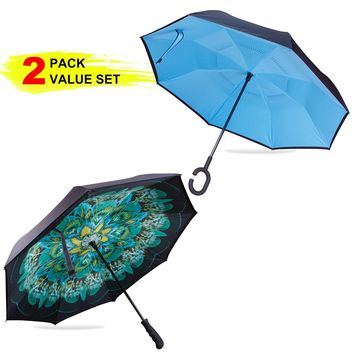 [Upgraded Version] Gift Box Pack EVRIDWEAR Reverse Folding Double Layer Inverted Umbrella, UV Protection Self-Standing Umbrella with C-shaped Hands Free Handle or Classic Straight Handle
