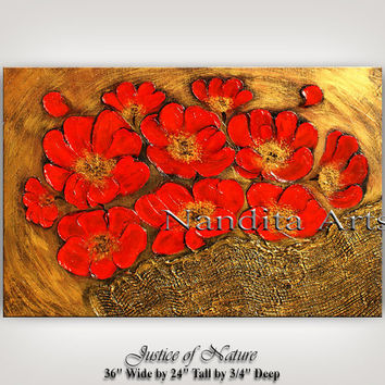 TEXTURED WALL ART - Original Red Flower Art on canvas large gold flower painting modern floral wall art decor Art by Artist Nandita Albright