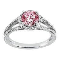 2.66 carats Pink & white round diamonds anniversary ring white gold 14K