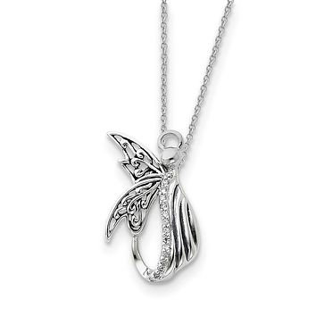 Sterling Silver Antiqued Angel of Perseverance 18in Necklace