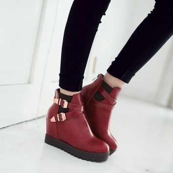 Metal Buckle Ankle Boots Wedges Shoes Fall|Winter 7558