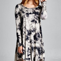 Tie Dye Tunic Dress, Black-Ivory