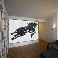 Huge Abstract horse Painting On Canvas, Vertical Canvas Painting, Extra Large Wall Art, Abstract Art , Handmade. Black white with textures.