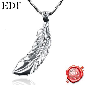 EDI 925 Sterling Silver Punk Style Bald Eagle Feather Pendants Necklace for Men/ Male Antique Silver Snake Chains Fine Jewelry