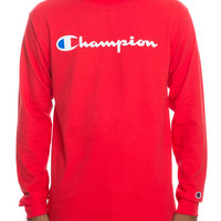 The Patriotic Script Long Sleeve Tee in Team Red Scarlet