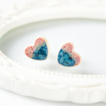 Clay stud earrings Heart earrings Clay studs Ceramic earrings handmade pink and blue porcelain jewelry Ceramic jewelry Sterling silver posts