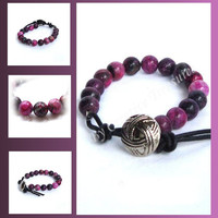 Purple Dyed Jasper Gemstone Bead Bracelet with Button Fastening