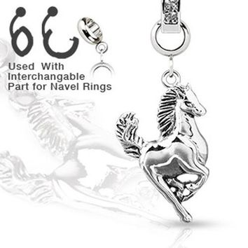 Add-On Banana Round CZ Horse Dangle Charm for Navel Belly Button Rings, Dermal Anchors and More