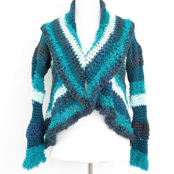 Shawl collar shrug, blue crochet circle shrug, modern fine knitwear,outerwear