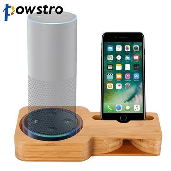 POWSTRO For Amazon Echo 2 in 1 Phone Holder  Bamboo Desktop Speaker Stand Amplifier Dock Powerless Speaker Holder for A E Dot