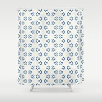 Acrylic Blue Pattern Circles Shower Curtain by Doucette Designs