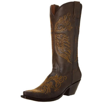 Stetson Womens Crystal Leather Embellished Cowboy, Western Boots