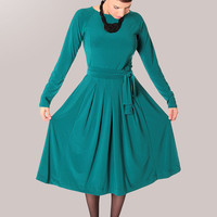Classic Turquoise  Pleated neon modest  long sleeve midi dress