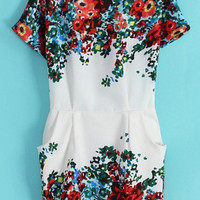 Short Sleeve Pockets Floral Print Dress