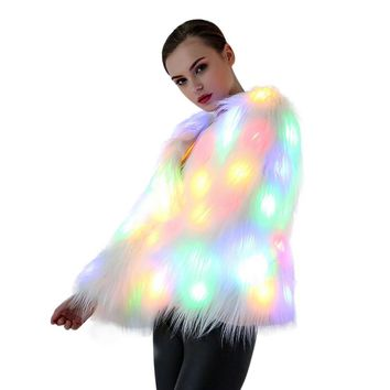 LED Fur Coat Stage Costumes Women Luminous Jacket Nightclub Bar Dance Show Faux Fur Coats Christmas Halloween Clothes Plus Size