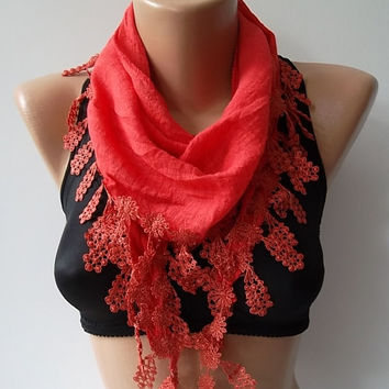 Cotton Scarf - Cowl with Lace Edge Coral - Bridesmaids Gifts