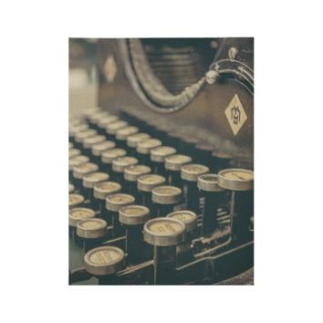 Vintage Typewriter Photography Wood Poster