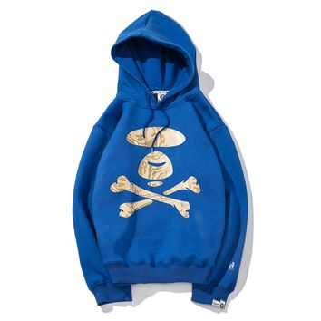 AAPE autumn and winter new men and women hooded sweater Blue