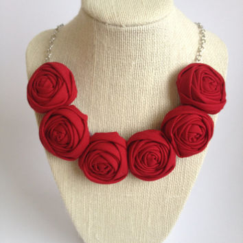 Poppy rich Red crimson womens fashion fabric flower rose rosette bib necklace silver chain gift bridesmaid teacher birthday for her scarlet