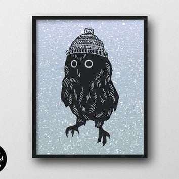 "Winter Owl Nursery Wall Art, 8""x10"", Instant Download, Woodland Animal Decor, Printable Nursery Poster, Owl Kids Room Print"