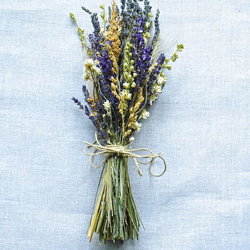 Summer Wedding  Brides Bouquet of Lavender Larkspur Wheat and other dried flowers