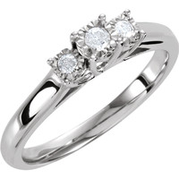 Sterling Silver .06 CTW Diamond 3 Stone Promise Ring