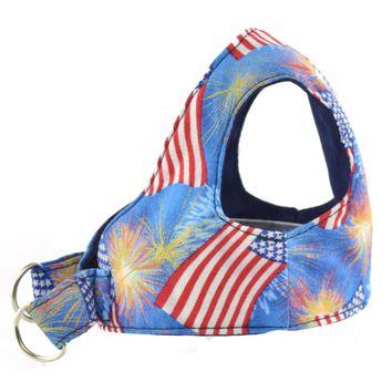 Flag and Fireworks Dog Step In Harnesses - On Sale!