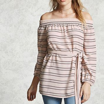 Contemporary Belted Striped Top