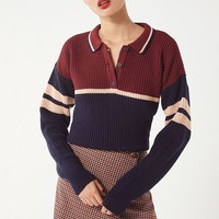 UO Colorblock Polo Sweater | Urban Outfitters