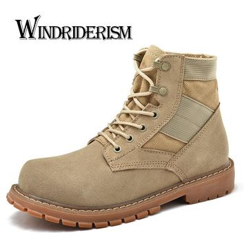 WINDRIDERISM Fashion Cow Suede Casual Men Boots Male Shoes Quality Soft Breathable Man Boot Man Shoes Plus Big Size 37-47