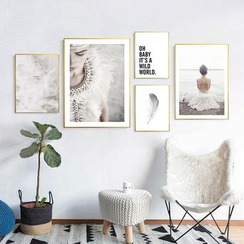 Scandinavian Tribe Girl Feather Canvas Poster and Print Wall Art Abstract Painting Nordic Decoration Pictures Modern Home Decor