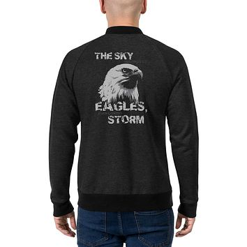 Motivational Men's Fashion Bomber Jackets The Sky Belongs To Eagles Even During A Storm