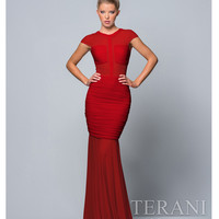 Terani 151P0171 Red Ruche Illusion Dress  2015 Prom Dresses