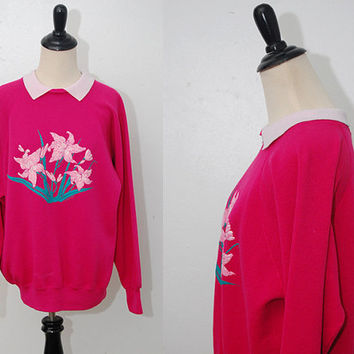 vintage FLORAL SWEATER (L) crimson collar soft grunge peter pan red pink boyfriend fit 90s large pastel goth grandma slouchy loose oversize