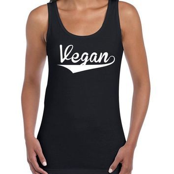 Vegan Letters Print Women Tank Top Summer Vest t Shirt For Lady Camisole Tee Funny Hipster black white drop ship B-36