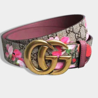 Gucci Popular Women Men Retro Red Floral Print Smooth Buckle Leather Belt
