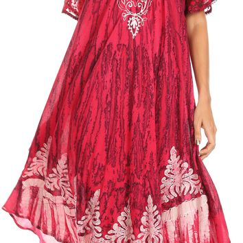 Sakkas Ronny Lace Embroidered Cap Sleeve Tie Dye Wash Caftan Dress / Cover Up