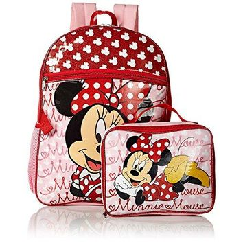 Disney Girls' Minnie Backpack with Lunch, Red