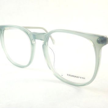 Womens Big Eyeglasses, Designer Glasses, Pale Icy Olive Blue Semi-transparent 1980's Vintage Liz Claiborne Frames
