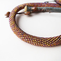 Bead crochet necklace, rope - Gold Iris Purple