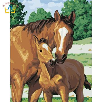 Diy acrylic paints by numbers animals horse pictures wall art canvas paintings for living room home decoration craft gift W6778