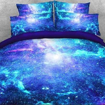 3D Space Galaxy Printed Cotton Luxury 4-Piece Fluorescent Blue Bedding Sets/Duvet Covers