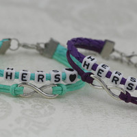 Lesbian Couples Bracelets Set, Hers and Hers Bracelets, Heart Bracelet, Braided Bracelet, Infinity Bracelet, Anniversary Gift, Friendship