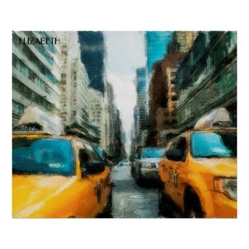 Yellow Taxi Cabs After Rain In New York City Poster